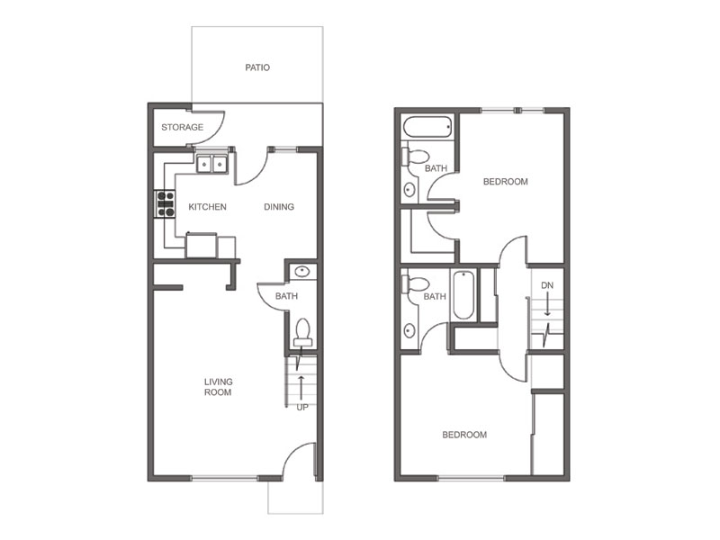 Bedroom one story house plans 2 bedroom 2 bath house plans Small 2 bedroom apartment floor plans